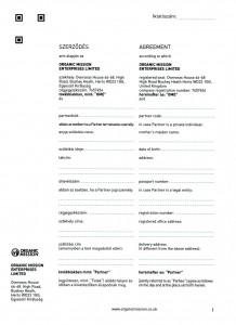 Orgnic Mission Global ag kötvény szerződés Organic Mission Enterprises ltd 1 oldal