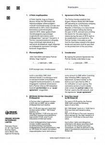 Orgnic Mission Global ag kötvény szerződés Organic Mission Enterprises ltd 2 oldal