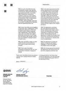 Orgnic Mission Global ag kötvény szerződés Organic Mission Enterprises ltd 7 oldal